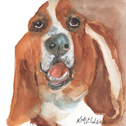 Artist Watercolor Prints - Basset Hound Print by Kathleen McElwaine