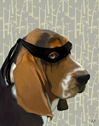 Wall Decor Greeting Cards Prints - Basset Hound Ninja Print by Kelly McLaughlan