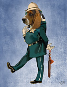 Wall Decor Greeting Cards Prints - Basset Hound Policeman Print by Kelly McLaughlan