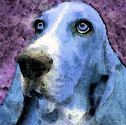 Basset Posters - Basset Hound - Pop Art Blue Poster by Sharon Cummings