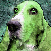 Funny Dog Digital Art Framed Prints - Basset Hound - Pop Art Green Framed Print by Sharon Cummings