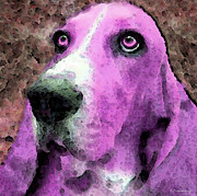 Basset Hound Framed Prints - Basset Hound - Pop Art Pink Framed Print by Sharon Cummings