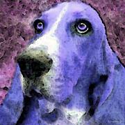Basset Hound Framed Prints - Basset Hound - Pop Art Purple Framed Print by Sharon Cummings