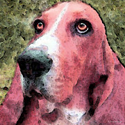 Basset Hound Framed Prints - Basset Hound - Pop Art Red Framed Print by Sharon Cummings