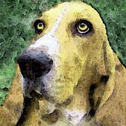 Basset Posters - Basset Hound - Pop Art Yellow Poster by Sharon Cummings