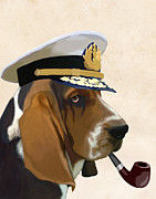 Wall Decor Greeting Cards Prints - Basset Hound Seadog Print by Kelly McLaughlan