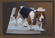 Cute Dogs Digital Art - Basset Hound Waddle Parade 04 by Thomas Woolworth