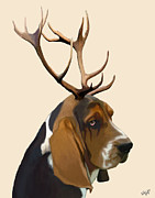 Wall Decor Framed Prints Digital Art - Basset Hound with Antlers by Kelly McLaughlan