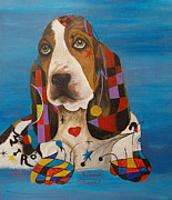 Contemporary Animal  Acrylic Paintings - Basset-Mirro  by To-Tam Gerwe