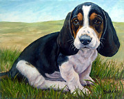 Dottie Prints - Basset Puppy in Field Print by Dottie Dracos