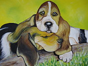 Dog Greeting Cards Prints - Bassett Hound Pups Print by Leslie Manley