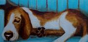 Lisbet Damgaard - Bassett on Blue Bench
