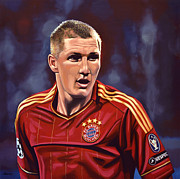 Messi Painting Framed Prints - Bastian Schweinsteiger Framed Print by Paul  Meijering