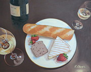 Wine Glasses Paintings - Bastille Day Happy Hour by Elisabeth Olver