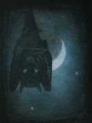 Bat Pastels Posters - Bat with Crescent Moon Poster by Robin Street-Morris