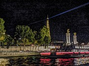 Seine Digital Art - Bateau Mouche - Paris by Lilian Norris