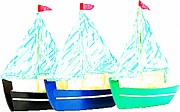 Toy Boat Mixed Media Prints - BATEAUX a VOILES Print by Lauranns Etab