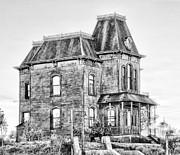 Bates Motel Haunted House Black And White Print by Paul W Sharpe Aka Wizard of Wonders