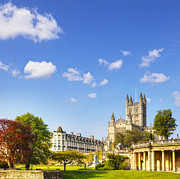 World Heritage Site Posters - Bath Abbey Orange Grove and Colonnade Poster by Colin and Linda McKie