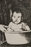 Featured Reliefs Posters - Bath Baby Poster by Yvonne Gordon