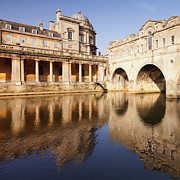 Architecture Posters - Bath Pulteney Bridge and Colonnade Bath Poster by Colin and Linda McKie