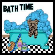 Bath Time Yorkshire Terrier Print by Lori Malibuitalian
