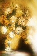 Floral Still Life Mixed Media Prints - Bathed In White Light Print by Zeana Romanovna