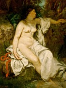 Bathroom Decor Prints - Bather Sleeping by a Brook Print by Gustave Courbet
