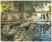 Impressionism Prints - Bathers at La Crenovillere Print by Claude Monet
