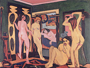 Frontal Nude Framed Prints - Bathers in a Room Framed Print by Ernst Ludwig Kirchner