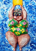 Folkart Reliefs Posters - Bathing Beauty Poster by Alison  Galvan
