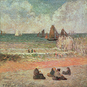 Talking Painting Prints - Bathing Dieppe Print by Paul Gauguin