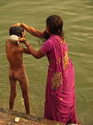 Jenny Rainbow Posters - Bathing in the Holi Lake. Indian Collection Poster by Jenny Rainbow