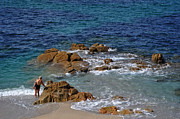 Galicia Photo Prints - Bathing in the Sea - La Coruna Print by Mary Machare