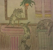 Precious Drawings Prints - Bathroom Cleaning Cats Print by Christy Brammer