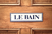 French Home Posters - Bathroom door Poster by Tom Gowanlock