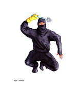 Fantastic Drawings Prints - Bathroom Ninja Print by Olaf Del Gaizo