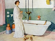 Scandinavian Framed Prints - Bathroom Scene Lisbeth Framed Print by Carl Larsson