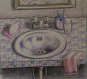 Water Drawings Prints - Bathroom Sink   1991 Print by Larry Preston