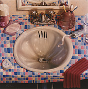 Still Life Paintings - BATHROOM SINK 1991  Skewed perspective series 1991 - 2000 by Larry Preston
