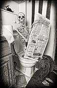 Reading The Paper Prints - Bathroom Skeleton Print by Brenda Carson