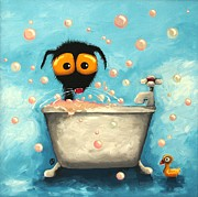 Stressie Cat Framed Prints - Bathtime Bubbles Framed Print by Lucia Stewart