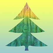 Silhouette Tapestries - Textiles Posters - Batik Christmas Tree Collage Poster by Yana Vergasova