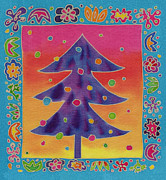 Illustration Tapestries - Textiles Prints - Batik Christmas Tree Print by Yana Vergasova