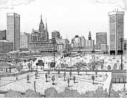 Baltimore Drawings Metal Prints - Batimore Inner harbor Metal Print by Calvert Koerber
