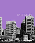 Cities Digital Art Metal Prints - Batlimore Skyline Metal Print by Dean Caminiti