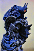 League Metal Prints - Batman - The Gargoyle Perch  Metal Print by Lee Dos Santos