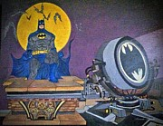 Gotham City Painting Framed Prints - Batman and Beam Framed Print by Brenda Brown