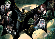 Dc Comics Prints - Batman and Foes Print by Ryan Barger