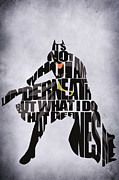 Typography Print Framed Prints - Batman Framed Print by Ayse T Werner
